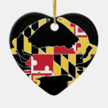 Love Maryland Double-Sided Heart Ceramic Christmas Ornament