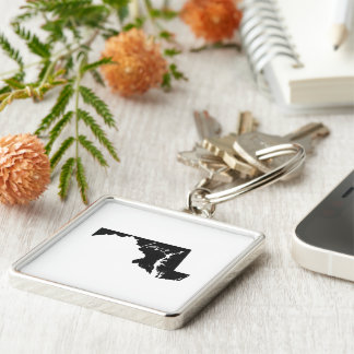 Love Maryland Silver-Colored Square Keychain