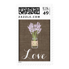 LOVE Mason Jar Burlap Wedding Postage Stamps
