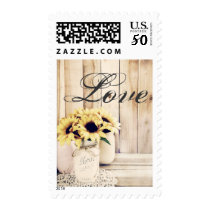 Love Mason Jar Sunflowers Country Postage Stamps