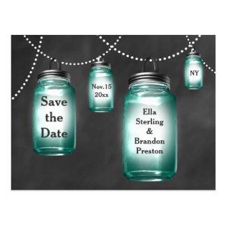 Love Mason Jars Save the Date Post Card