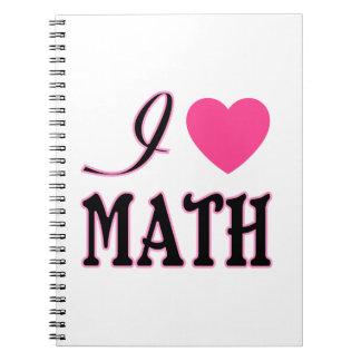 Love Math Pink Heart Logo Spiral Notebook