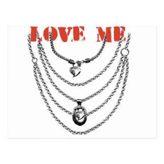 LOVE ME - CHAIN HEART CHROME PRINT POSTCARD