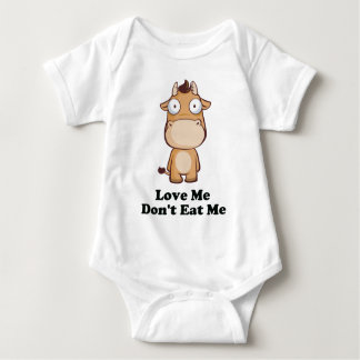 Love Me Don't Eat Me Cow Design Baby Bodysuit