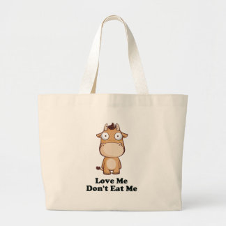Love Me Don't Eat Me Cow Design Tote Bag