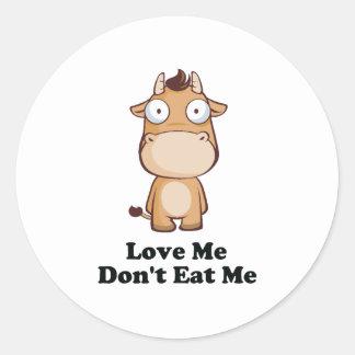 Love Me Don't Eat Me Cow Design Classic Round Sticker