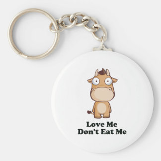 Love Me Don't Eat Me Cow Design Keychain