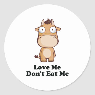 Love Me Don't Eat Me Cow Design Round Stickers