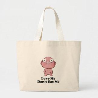 Love Me Don't Eat Me Pig Design Large Tote Bag