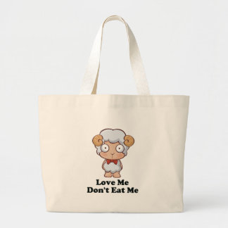 Love Me Don't Eat Me Sheep Design Large Tote Bag