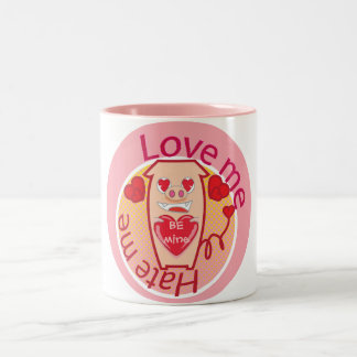Love me Hate me pink pig mug