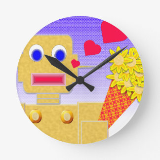 Love Me, I'm a Bot Round Wall Clocks