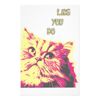 Love Me Like You Do Funny Cat Theme Stationery