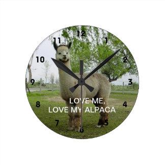 Love Me, Love My Alpaca Round Clock
