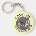 Love Me, love my Basset Hound Basic Round Button Keychain
