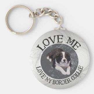 Love me, love my border collie keychains