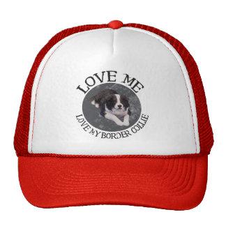 Love me, love my border collie trucker hat