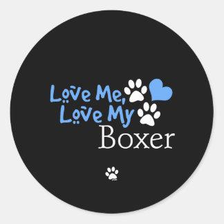 Love Me, Love My Boxer Classic Round Sticker