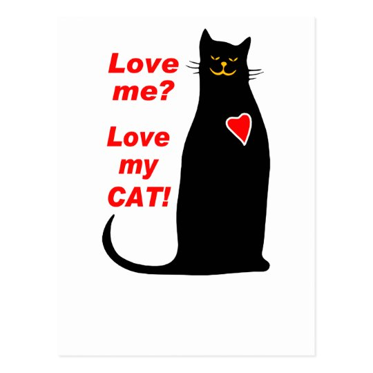 Love Me? Love my Cat Black Cat Postcard
