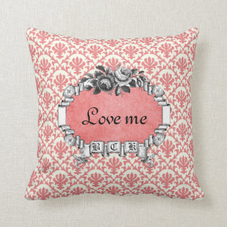 Love Me Love My Cat Vintage Rose Frame Red Orange Throw Pillow