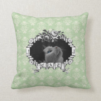 Love Me Love My Cat Vintage Roses Green Frame Pillow