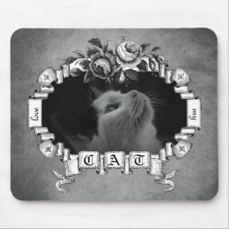 Love Me Love My Cat Vintage Roses Ribbon Frame Mouse Pads