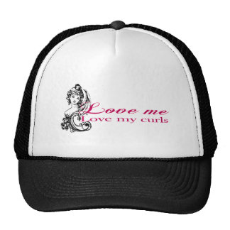 Love me, love my curls trucker hat