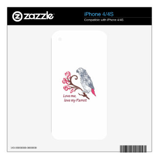 LOVE ME LOVE MY PARROT SKIN FOR THE iPhone 4