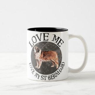 Love me, love my St. Bernard Two-Tone Coffee Mug