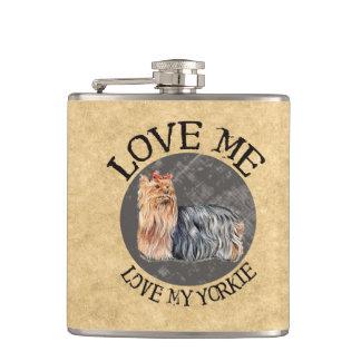 Love Me, Love My Yorkie Hip Flask