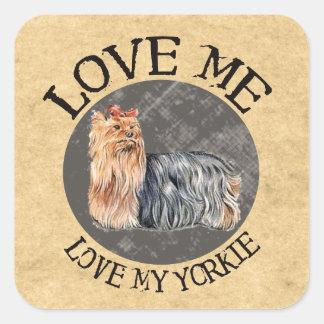 Love Me, Love My Yorkie Square Stickers