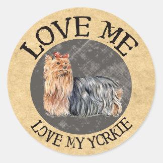Love Me, Love My Yorkie Round Stickers