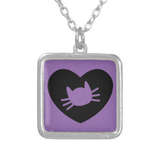 Love Me MEOW Square Pendant Necklace