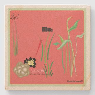 Love Me Sandstone Coaster (coral)