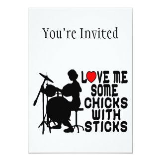 Love Me Some Chicks With Sticks Card