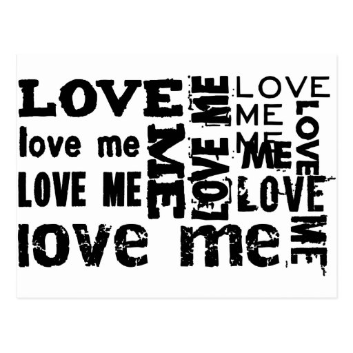 LOVE ME TYPOGRAPHY POST CARDS