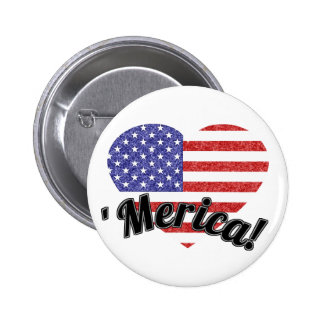 Love 'Merica! Heart Shaped USA American Flag 2 Inch Round Button