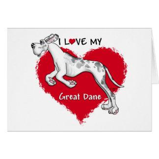 Love Merlequin Great Dane UC Greeting Card