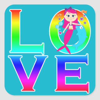 LOVE: Mermaid and Dolphin Square Sticker