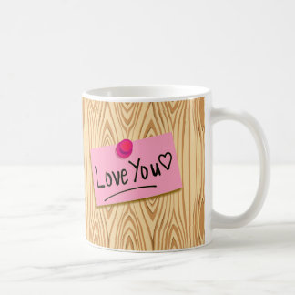 LOVE MESSAGE ON A POST-IT, WOOD MUG