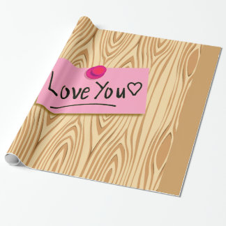LOVE MESSAGE ON A POST IT, WOOD, WRAPPING PAPER