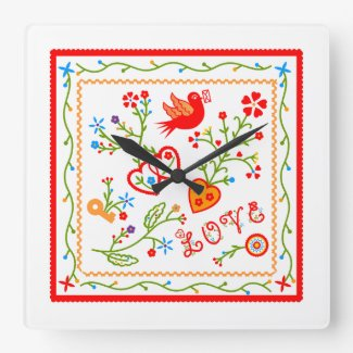 Love message square wall clock