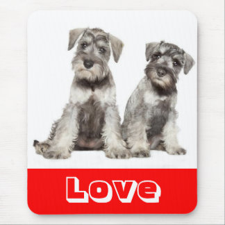 Love Miniature Schnauzer  Puppy Dog  Mouse Pad