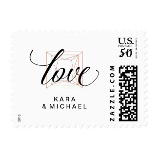 Love | Minimalist Modern Diamond Wedding Postage