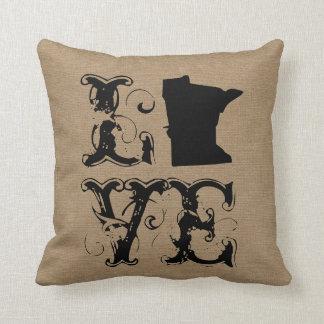 Love Minnesota state rustic chic burlap vintage Pillow