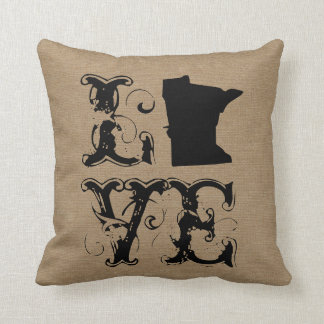 Love Minnesota state rustic chic burlap vintage Throw Pillow