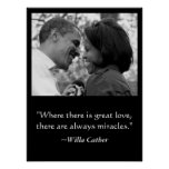 LOVE & MIRACLES POSTER, BARACK & MICHELLE OBAMA