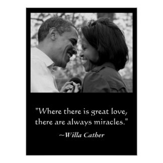 LOVE & MIRACLES POSTER, BARACK & MICHELLE OBAMA POSTER