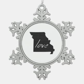 Love Missouri Snowflake Pewter Christmas Ornament