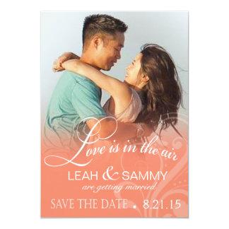 Love Mist Photo Save the Date | peach 5x7 Paper Invitation Card